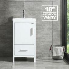 18'' Modern Kitchen Bathroom Vanity Cabinet Undermount Resin Sink w/Faucet