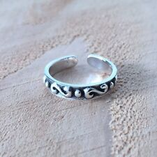 Adjustable Solid 925 Sterling Silver Swirl Design Toe Ring (3mm)