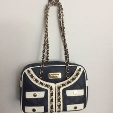 Nearly New $175 Navy Leather Satchel Thursday Friday Bag EUC