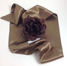 Brown Big Flower Satin Soft Belt 4 feet 5 Inches Feet Long One Size Adjustabel