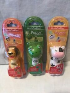 Brush Buddies, Cow, Frog and Lion 3 Brushes - Poppin Toothbrush