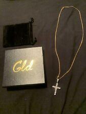 "New SHOP GLD Diamond Cross + Micro Cuban Chain 24"" Vermeil Set"