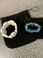 Blue Chip Gemstone Bracelet Elasticated 1 White Howlite & 1