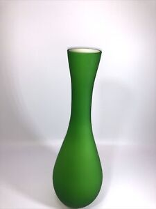 "Modern Italian Style Satin Green and White Cased Glass Vase 11.5""h"