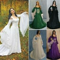 Women Vintage Medieval Dress Flare Sleeve Lace Wedding Dress Renaissance Dress