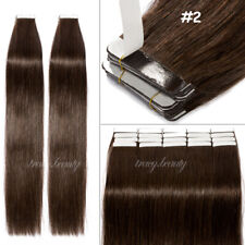 Virgin Remy Human Hair Extensions Tape IN 20/40/60pcs 50-150g Ombre Mix Brown US
