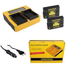 2x Batteria Patona + caricabatteria rapido DUAL LCD per Panasonic Lumix DMC-GF2