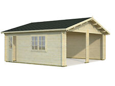 Garage Roger 20 / Garage Double, Gartenhaus, Holzgarage 595x530 cm ohne Tor