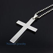 Classic Plain Titanium Polished Cross Necklace Pendant Men's Super Cool