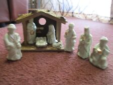 9 Piece Porcelain NATIVITY SET Ivory w/gold trim With Manger