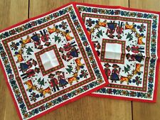 More details for pair vintage kolf cotton napkins austrian folk art 27cm square unused