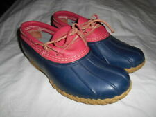 LL Bean Ladies Duck Boots Blue/Pink Waterproof Rubber sz. 8 M Made in Maine EUC