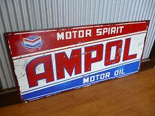 Large Ampol Motor Spirit Metal tin sign Petrol Oil Man cave bar Garage
