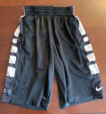 Nike Elite Dri Fit Shorts size S Boys Black White Elastic Drawstring Basketball