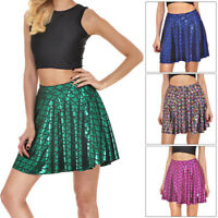 CO_ Lovely Fish Scales Women Summer Party Mermaid Mini Flared Skirt Deluxe