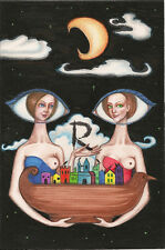ACEO PRINT OF PAINTING RYTA RAVEN CROW MOON FANTASY WITCH GOTHIC VINTAGE STYLE