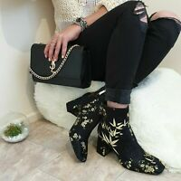 ZARA NEW EMBROIDERED BLOCK HEEL ANKLE BOOTS SIZE UK 5 EUR 38