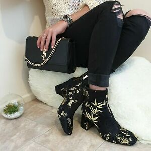 ZARA NEW EMBROIDERED BLOCK HEEL ANKLE BOOTS SIZE UK 4 EUR 37