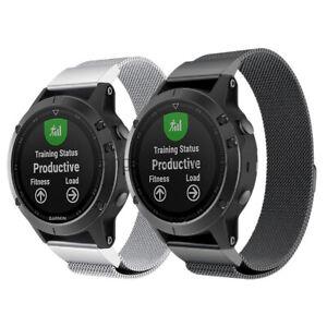 Quick Fit Milanese Loop Watch Band Strap For Garmin Fenix 6X Pro 5X Plus 3 HR