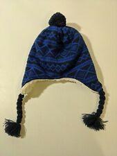Lands End Peruvian Hat, Coed, Medium/Large, Royal Blue/Navy Blue, Earflaps, Open