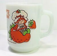 Strawberry Shortcake Coffee Mug Vintage 1980 Anchor Hocking White Milk Glass