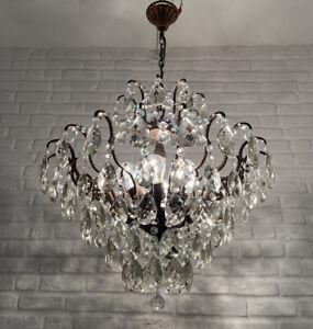 Antique Vintage Brass & Crystals Spider Style HUGE Chandelier Ceiling Lamp