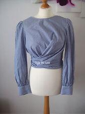 Zara Blue & White Striped Wrap Blouse With Bow Back Size M Medium BN