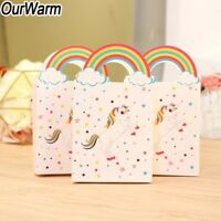 10Pcs Rainbow Unicorn Candy Bag Sweet Paper Gift Bag Kids Birthday Party Favor
