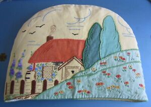 """Vintage Hand Embroidered Appliqué CottageYellow Linen Tea Cosy Cover 14.5 X11"""""""