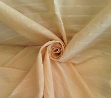 20 Metres Horizontal Threaded Stripe Faux Silk Curtain Fabric In Pale Primrose