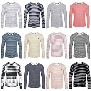 Crew Clothing™ Designer Tops New Mens Striped Soft Cotton Long Sleeve T-Shirts