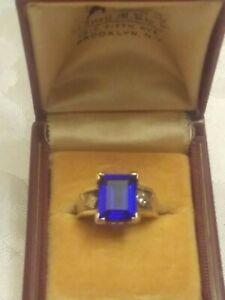 Estate Antique Edwardian 10K gold 4.1 grams emerald cut blue sapphire ring sz 5