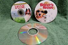LOT of 3 DOG DVDs: Bailey's Billions, LASSIE, Saving Shiloh FAMILY MINT Animal