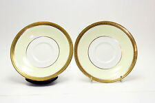 Crown Ducal England set of 2 Saucer Plates beige with gold wheat encrusted band