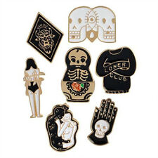 7pcs/Set Hard Enamel Punk Skull Brooch Badge T-shirt Collar Pins Brooch Jewelry
