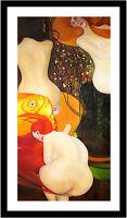 Goldfish by Gustav Klimt 75cm x 38cm Framed Black