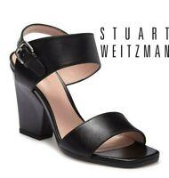Stuart Weitzman Partilow Platform Heeled Ankle Strap Sandal Black Leather US 9.5
