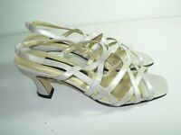 WOMENS IVORY CHAMPAGNE BONE LEATHER SANDALS CAREER WEDDING HEELS SHOES SIZE 6 M