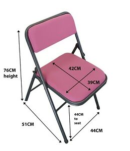 PINK Folding Chair FABRIC Padded Seat Back Rest Computer Office Study Home Work