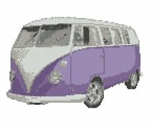 "Volkswagen Camper Van Purple Cross Stitch Kit 10""x 7.5"""