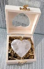 Large Clear Quartz Heart, Healing Hands, Wooden heart shape gift box