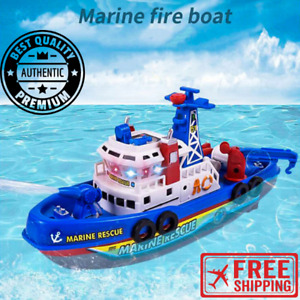 Funny Fire Fighting Boat Water Spray LED Light Electric 3 4 5 Year Kids Toy Gift