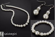 Silver CZ Gem Faux Pearl Wedding Bride Earrings Bracelet Necklace Jewellery Set