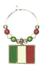 Italy Flag / Italian Flag / il Tricolor Wine Glass Charm with Gift Card-FREE PP