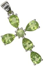 Peridot Gemstone Cross Design Sterling Silver Pendant + Chain