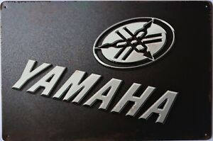 Yamaha Black Motorcycle Metal Garage Sign Wall Plaque Vintage mancave