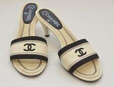 Chanel Cream Black Leather CC Kitten Sandals