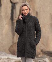Aran Crafts Charcoal Double Collar Sweater Coat x4263