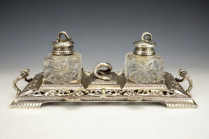 Antique English Silver Plated & Glass Inkwell Ink Stand - With Serpent Finials