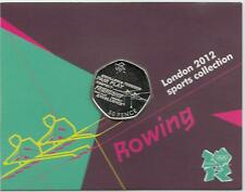 2011 London 2012 Sports Collection Olympic 50p BU coin Card Auction - 19 ROWING